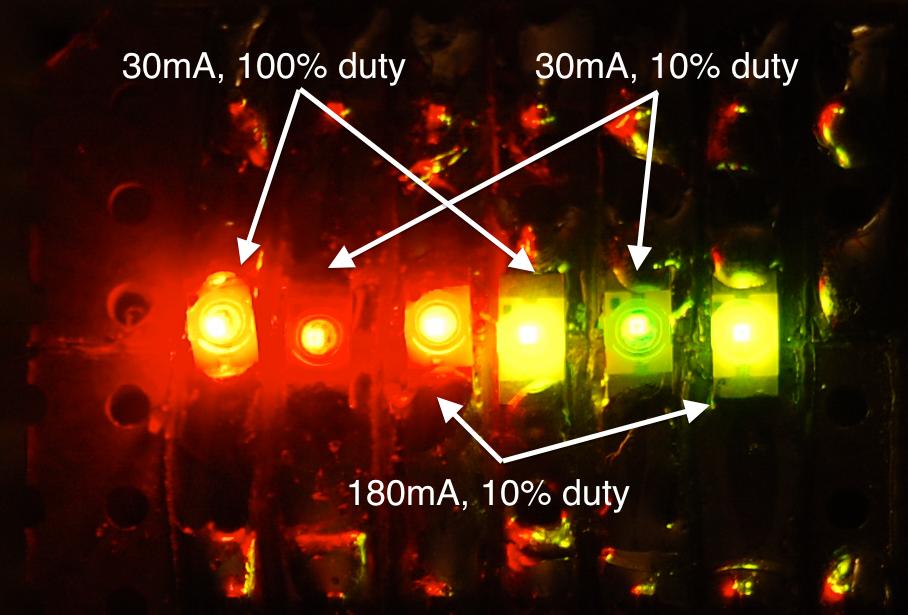 Closeup of the final brightness test. Hooray for DSLR cameras!